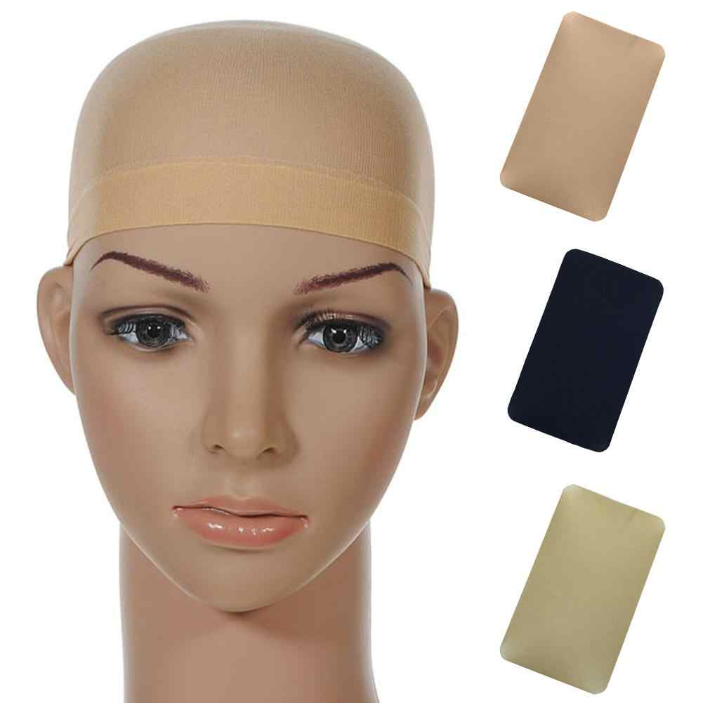 2Pcs Solid Color Elastic Wig Liner Caps Hair Snood Nylon Stretch Mesh Hats Elastic  Soft  Solid  Color