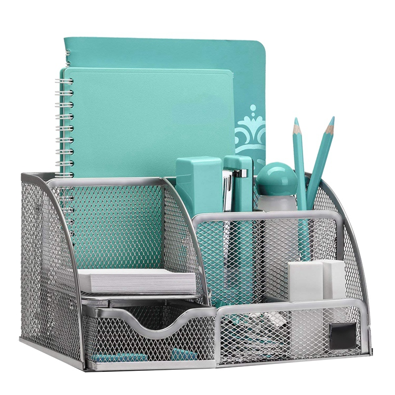 Desk Finishing With 6 Compartments+Drawers The Mesh Collection,Silver
