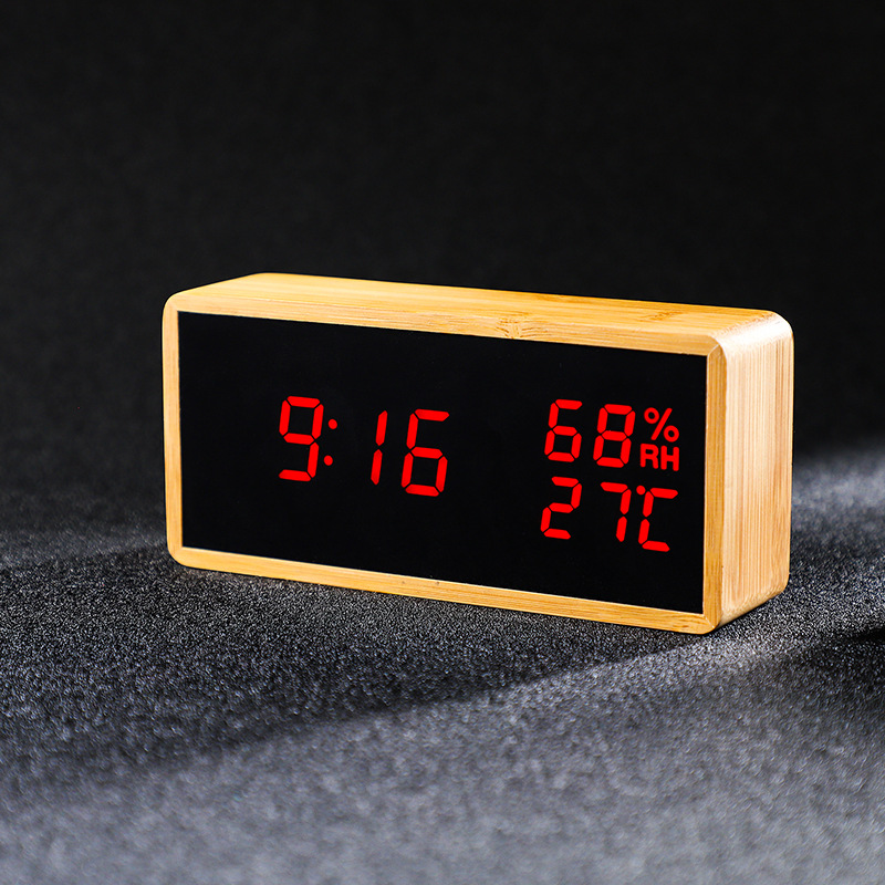 Digital Alarm Clock,Micar Wood LED LightModern Desk Alarm Clock Displays Time Date Humidity ,LED Sound WakeUp Function,Bedrooms