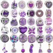 Новые фиолетовые бусины-бабочки, парусники, звезды, сердце из циркония, подходят для оригинальных браслетов Pandora с подвесками, самодельные ю...