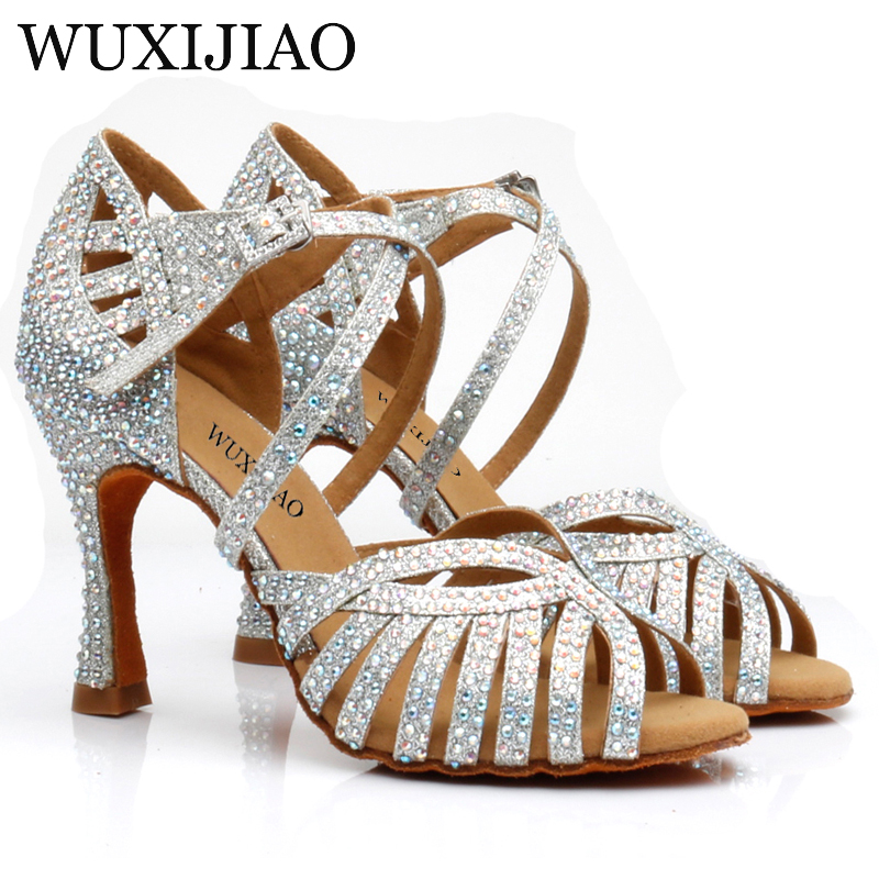 WUXIJIAO Latin Dance Shoes Women's High Heels Black Silver Gold Glitter Gold Cloth Comfortable Salsa Shoes Salsa Party Shoes