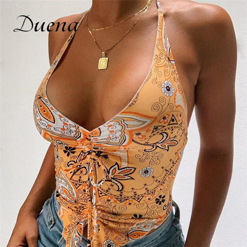 Duena Off Shoulder Crop Top Tie Dye Vintage Women 2021 Club Outfits Bare Back Low Cut Drawstring Boho Printed Halter Summer Tops