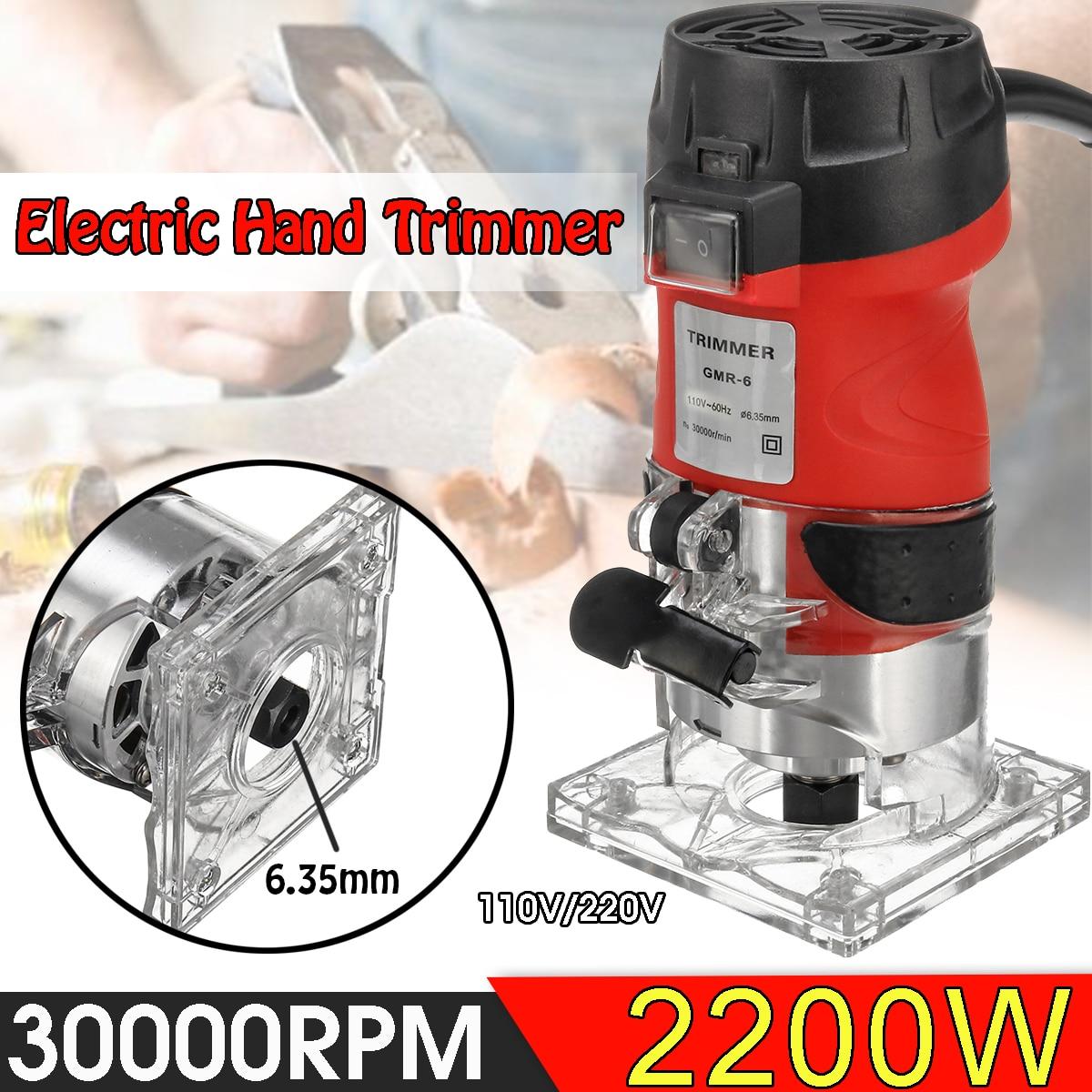 2200W elektryczna ręczna przycinarka 220V/110V drewna Laminator Router 6.35mm przycinanie rzeźba frezarka elektronarzędzia do obróbki drewna