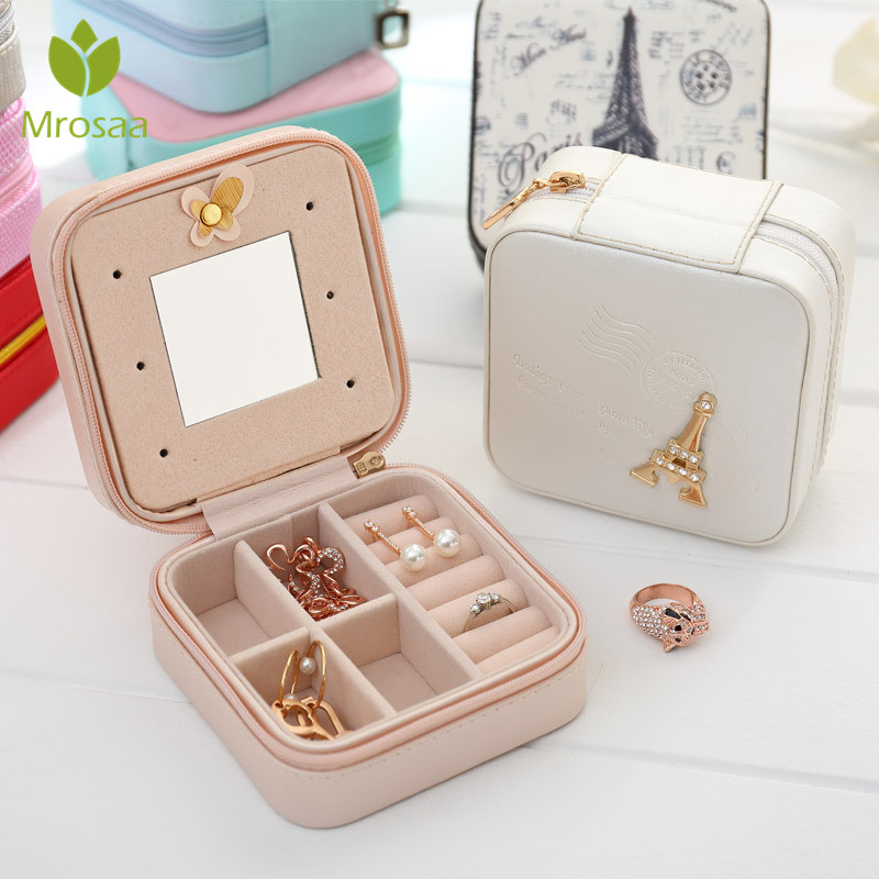 Portable PU Leather Jewelry Box Makeup Organizer Packing Jewelry Case Cosmetic Box&Mirror Travel Earring Ring Casket Storage Box