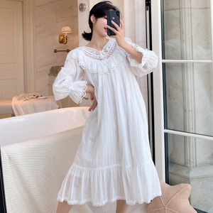 Image 2 - Autumn New Embroidery Lace Princess Nightgown Long Sleeve Woven Cotton Sleepwear