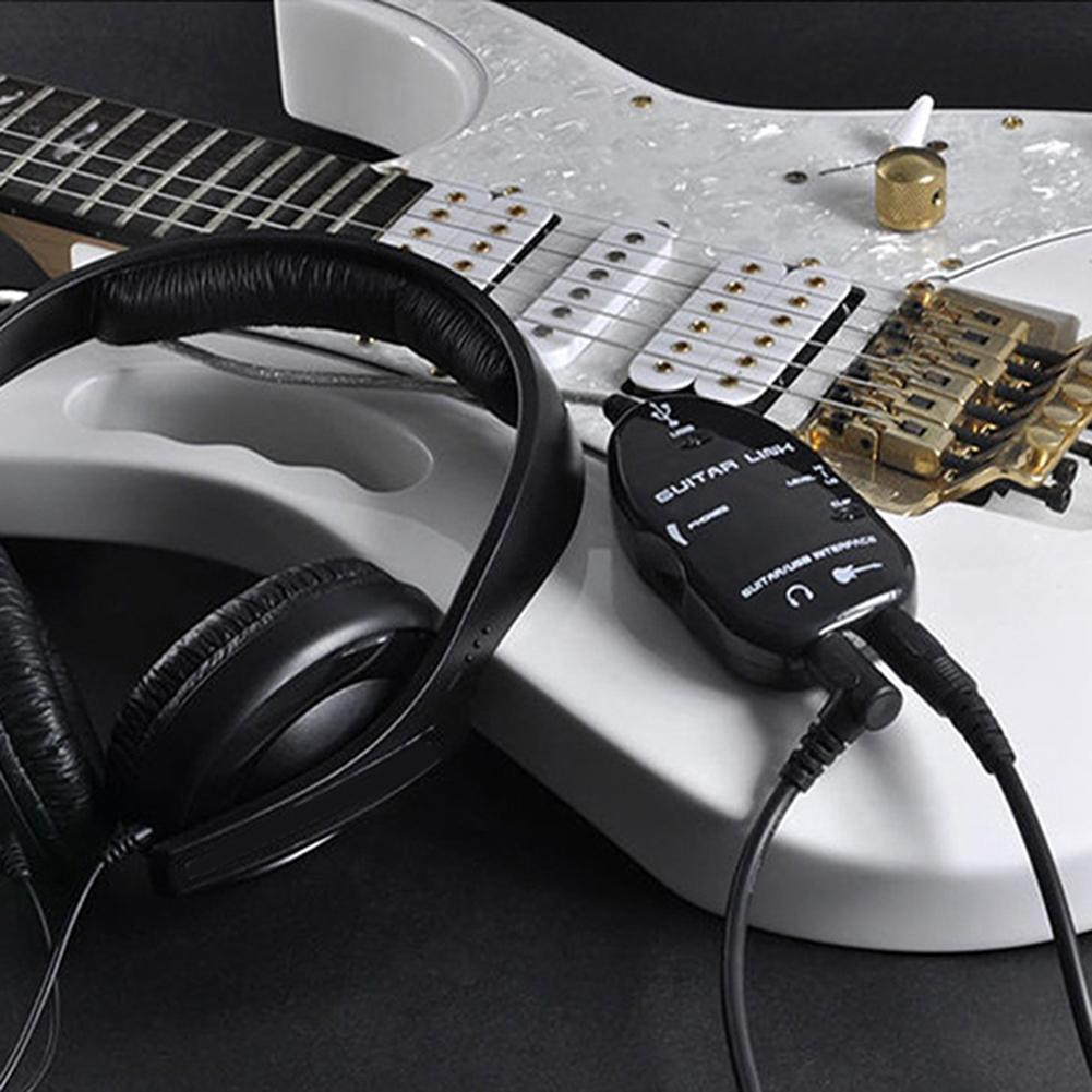 Guitar to USB Sound Player Sound Card Effector Interface Link Audio Cable Music Recording Adapter Support Windows XP/MacOS etc 3