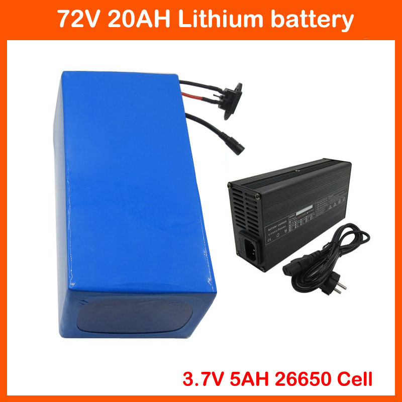 <font><b>72V</b></font> <font><b>20AH</b></font> 2000W <font><b>Lithium</b></font> <font><b>Battery</b></font> <font><b>72V</b></font> 25AH EBIKE bicycle scooter <font><b>Battery</b></font> pack 5000MAH 26650 Cell with 84V 2A Charger Free taxes image