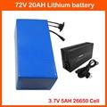 72В 20ач 2000 Вт литиевая батарея 72В 25ач электровелосипед велосипед Скутер Аккумулятор 5000 мАч 26650 ячейка с 82А зарядное устройство бесплатно нал...