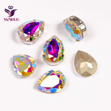 YANRUO 4320 Drop Fancy Pear AB Sew On Claw Rhinestones Stones Glass Crystal AAAAA For Rhinestones Dresses