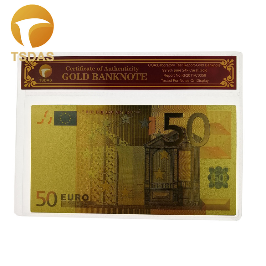 Gold Plated Gifts for Color <font><b>Banknotes</b></font> <font><b>50</b></font> <font><b>Euro</b></font> <font><b>Banknotes</b></font> In Gold Plated <font><b>Fake</b></font> Moeny with COA Frame for Collection image