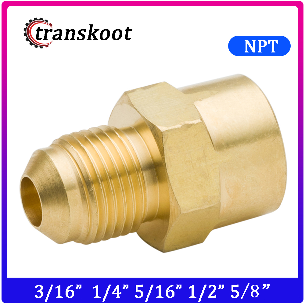 2pcs Brass Tube Fitting SAE 45 Degree Flare With Male NPT Thread Hose OD 3/16
