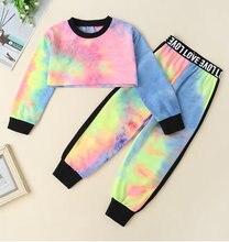 Осенние комплекты одежды для маленьких девочек пуловер с длинными
