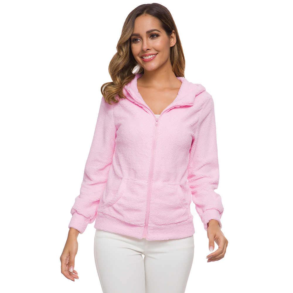 여성 후드 티 스웨터 겨울 플러시 양털 따뜻한 후드 티셔츠 코트 블랙 핑크 테디 지퍼 코트 코튼 아웃웨어 플러스 사이즈