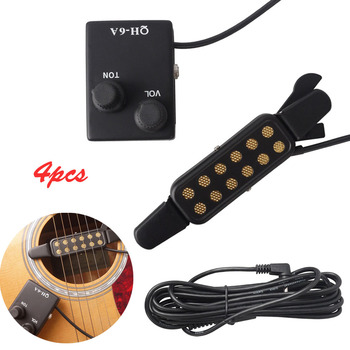 Professional Acoustic Guitar Sound Hole Pickup Magnetic Preamp EQ Equalizer Tuner QH-6A Captador Pick Up for Guitar Accessories