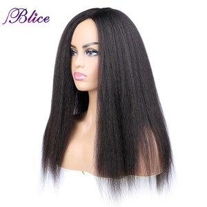 Image 2 - Blice Synthetische Yaki Rechte Pruik 18 22 Inch Lang Haar Zijscheiding Pruiken Geen Pony Voor Afro amerikaanse Vrouwen