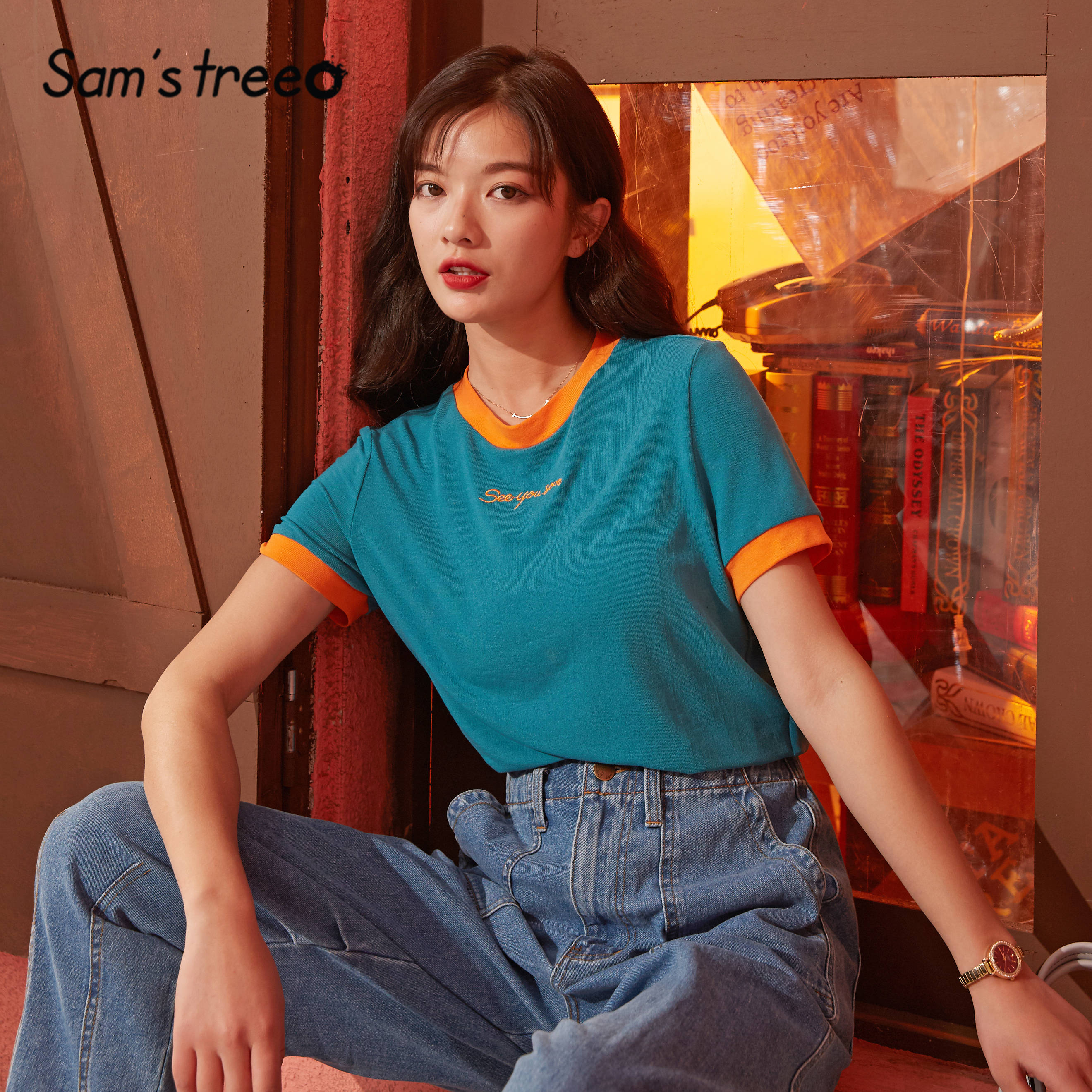 SAM'S TREE Black Solid Letter Embroidery Women Casual T Shirts 2020 Spring New Colorblock Short Sleeve Korean Ladies Daily Tops