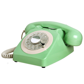 Old-fashioned classic retro telephone rotary landline telephone antique home office hotel fixed phone with metal bell