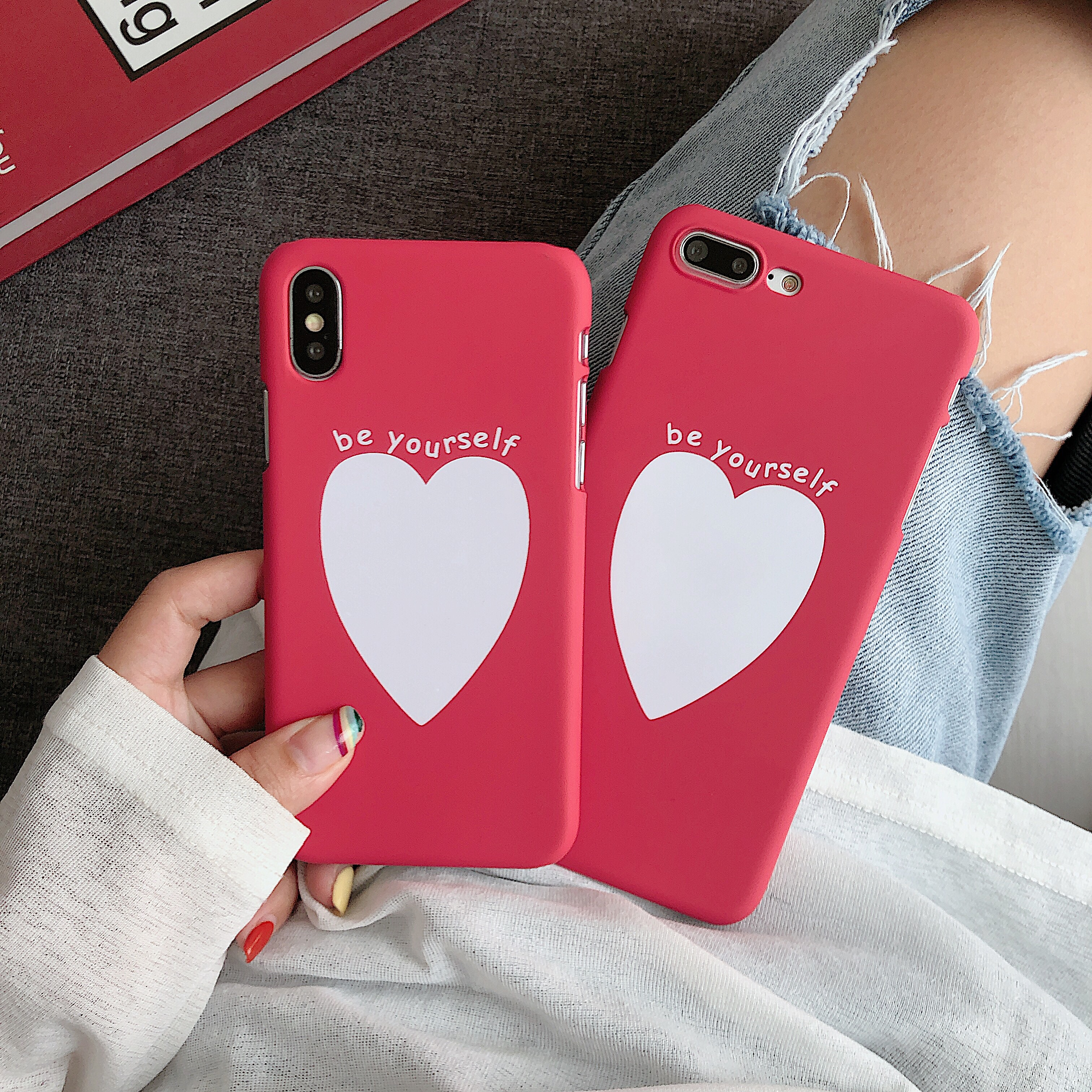Image 2 - Phone Bag Case Accessories For iPhone X XR XS MAX 6 6s 7 8Plus Luxury Couple Love Heart Eyes Print Fashion Back Cover Capa Coque-in Half-wrapped Cases from Cellphones & Telecommunications
