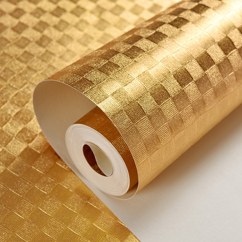 Pure Gold Small Check Square Brushed Gold Foil Wallpaper Bar Hotel Living Room Ceiling PVC Wallpaper