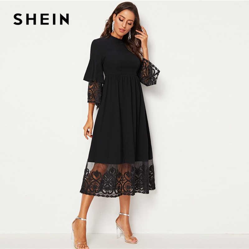 SHEIN Элегантное Длинное платье из органзы с воротником-стойкой и вышивкой, женское осеннее приталенное и расклешенное платье, платья абайя
