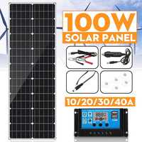 100W solar panel 18V Double USB With 10/20/30/40A Dual USB Solar Panel Regulator Controller ect for car yacht RV Lights Charge