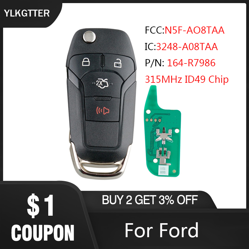 YLKGTTER 4 Buttons Smart Remote Key Keyless Go Fob For Ford Fusion 2013 -2017 For Ford N5F-AO8TAA 315Mhz ID49 Chip key Suit