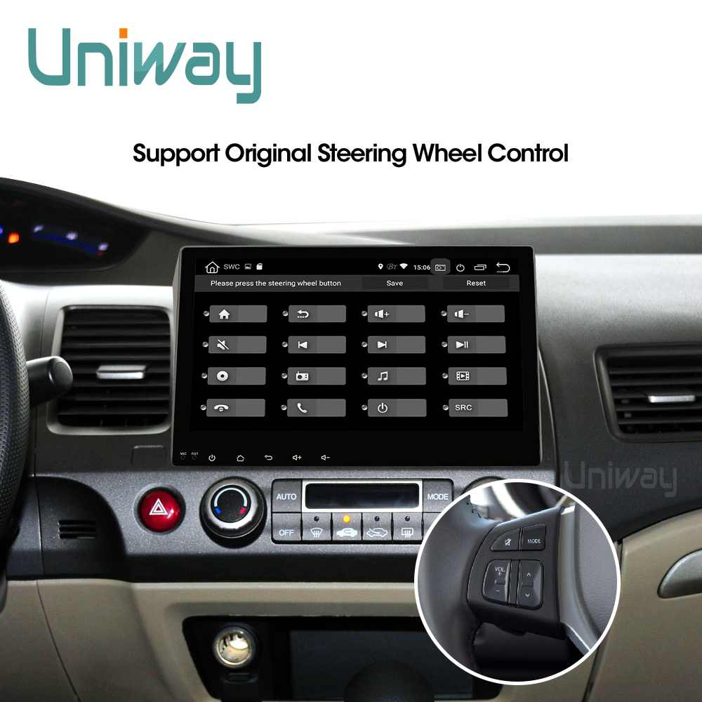 Uniway ALSY1071 2G+32G android 9.0  car dvd for honda civic 2006-2011 2008 car radio gps navigation car stereo car dvd player