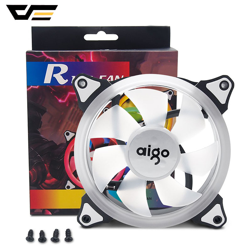 Aigo PC Case Fan LED 120mm 12V 4pin+3pin Desktop Computer Fan Quiet CPU Cooler Cooling RGB Ring Fan PC Cases Radiators System