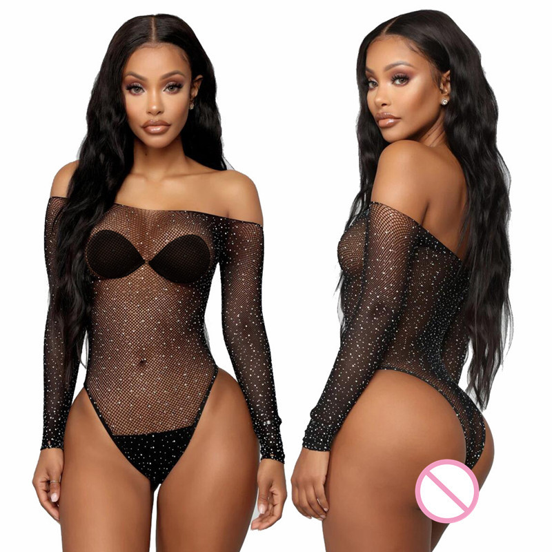 Sexy Lingerie Fishnet Babydoll Crystal Teddy Lenceria Women's Erotic Underwear Pole Dance Sexy Costumes Plus Size Sex Clothes