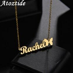 Atoztide 2020 nouveau papillon avec nom personnalisé colliers pour femmes plaque signalétique bijoux en acier inoxydable personnalisé lettre collier