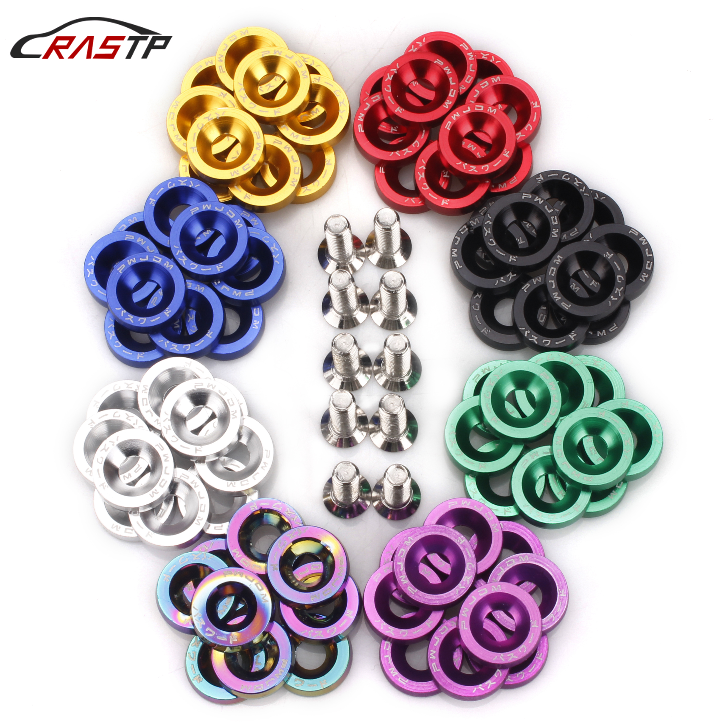 10Pcs Password jdm Car Styling Modifications Fender Washer M6 Bolt License Plate Screw Car Screw Univesal for Most Car RS-QRF002