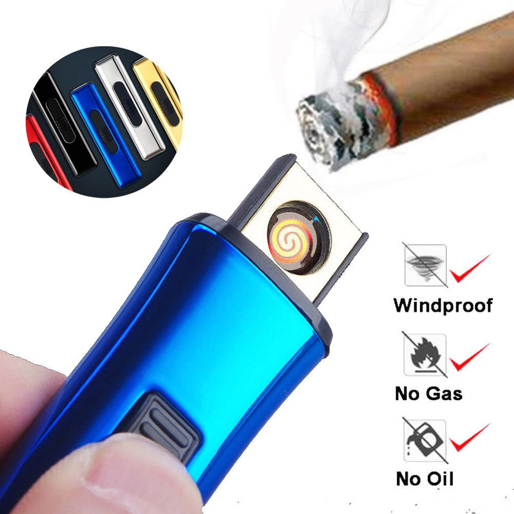Portable Rechargeable Mini Portable Electric Lighters USB Windproof Flameless Cigar Electronic Charging Cigarette Lighter No Gas