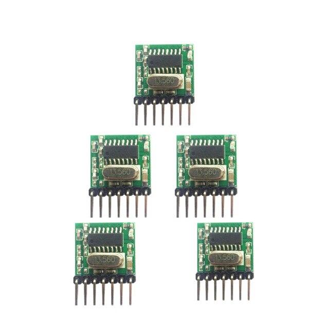 5 pieces 433 Mhz Superheterodyne RF wireless transmitter module 1527 Encoding EV1527 Code wide voltage 3V 24V For Remote control