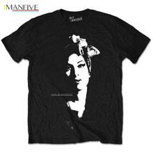 Amy Winehouse Scarf Portrait T-Shirt - NEW & OFFICIAL Good Quality Brand Cotton Shirt Summer Style Cool Shirts Basic Tops