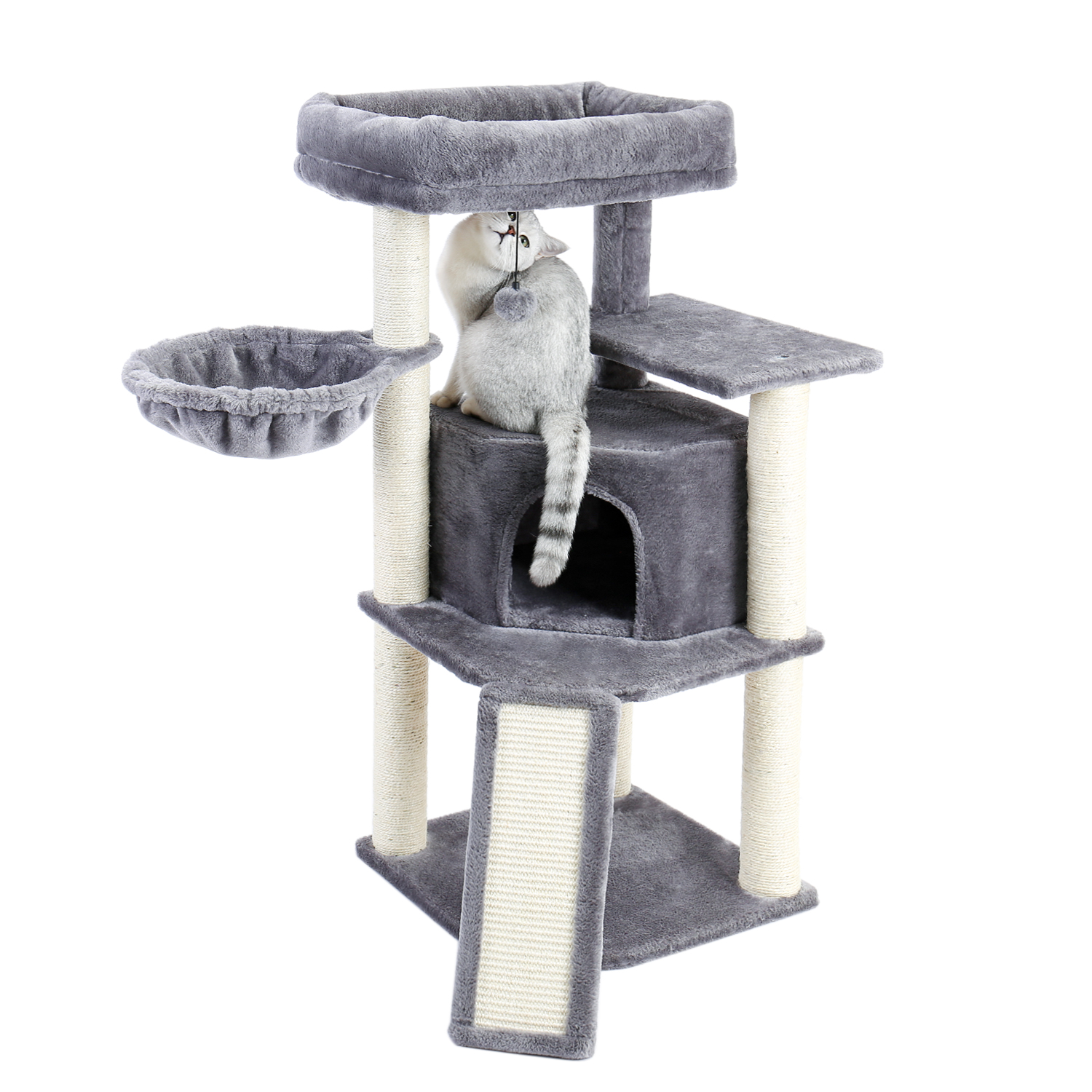 Domestic Delivery 145cm Wood <font><b>Cat</b></font> Climbing Jumping Balls Toy Frame <font><b>Cat</b></font> Furniture Scratching <font><b>Tree</b></font> <font><b>For</b></font> Kitten and <font><b>Large</b></font> <font><b>Cat</b></font> image