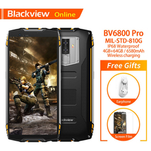 "Blackview bv6800 pro 4gb + 64gb 5.7 ""smartphone à prova dwaterproof água 18:9 tela 6580mah android 8.0 carregamento sem fio do telefone móvel"