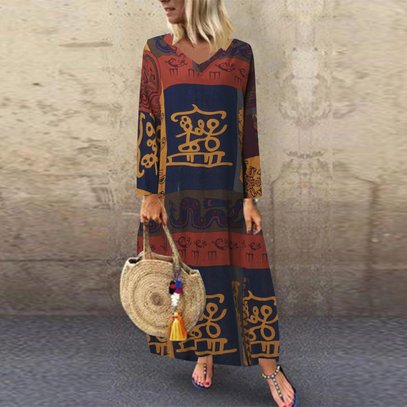 ZANZEA Women Summer Short Sleeve Cotton Linen Dress Vestido Robe Kaftan Femme Vintage V neck Floral Printed Party Sundress 5XL 15