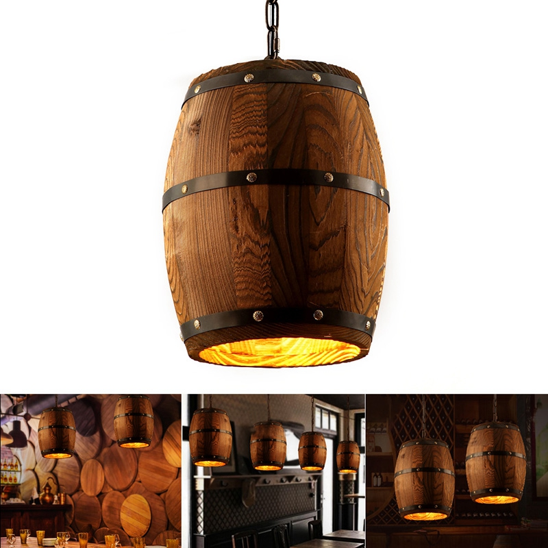 American Modern Nature Loft E27 Wood Wine Barrel Hanging Vintage Lamp Pendant Lights for Dining Room Living Room Restaurant Cafe