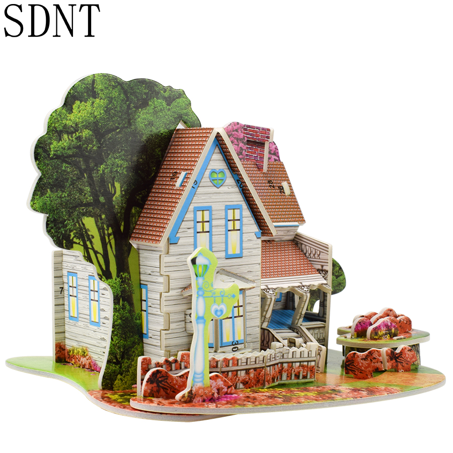 Romantic Cottage Model 3D Puzzles For Kids DIY Jigsaw Brain Games Educational Toys For 3 Years Old Gift Beautiful House Building