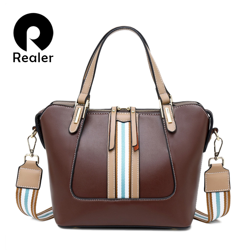 REALER Women Handbags With Top-handle Female Large Capacity Totes Retro Leisure Crossbody And Shoulder Bags For Ladies 2019