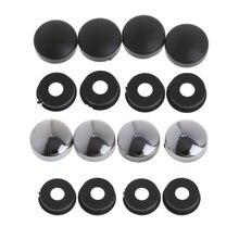 8 pces abs chrome moldura da placa de licença parafuso porca tampas + parafuso conjunto capa para o caminhão do carro