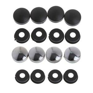 Image 1 - 8 pces abs chrome moldura da placa de licença parafuso porca tampas + parafuso conjunto capa para o caminhão do carro