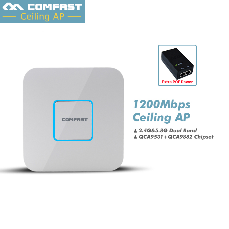 1200Mbps 2.4G/5.8G Dual Band 802.11AC Indoor Ceiling Mount Access Point Wifi Repeater Router 48V POE AP 500MW Gigabit Management