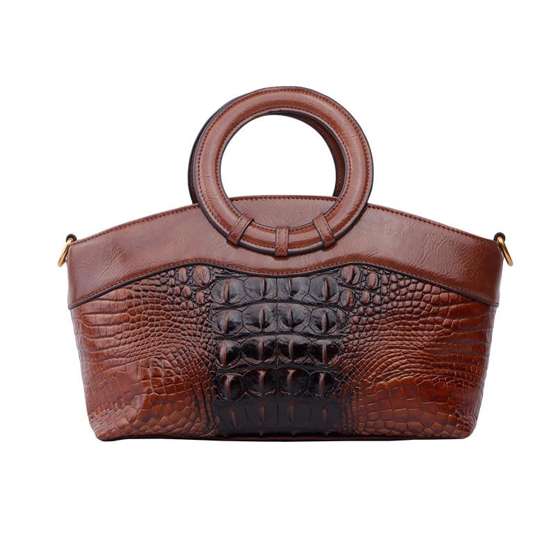 Crocodile Pattern Bag Women's 2019 New Style Leather Handbag Full-grain Leather Casual Mommy Bag Crossbody Bag Fashion