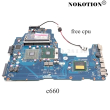 NOKOTION 메인 보드 도시바 위성 C660 K000111590 PWWAA LA 6841P 노트북 마더 보드 DDR3 GL40 무료 cpu