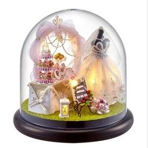 Image 2 - Spring Flowers DIY Handmade Mini Doll House White Wedding Dress Wooden Miniature Home Assembling Decoration Glass Ball Dollhouse