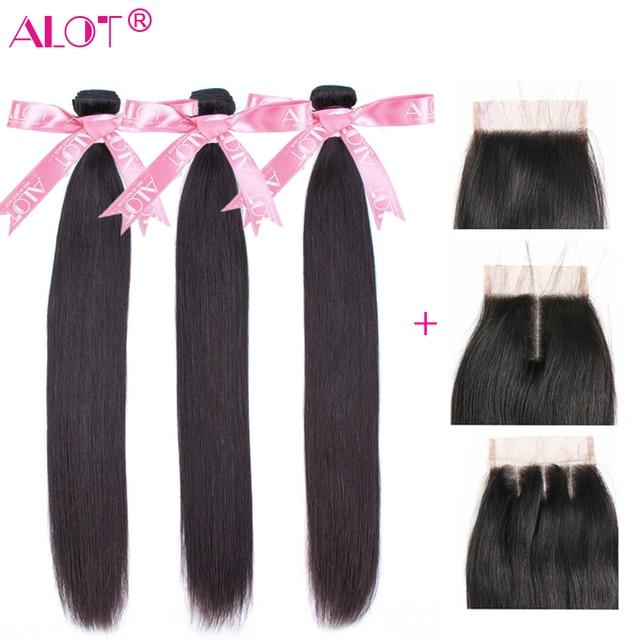 הרבה שיער ברזילאי ישר שיער טבעי חבילות עם סגירת תחרה צבע טבעי 3 חבילות שיער שוזר עם סגירת 4x4 ללא רמי