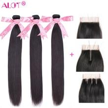 Alot saç brezilyalı düz insan saçı demetleri ile dantel kapatma doğal renk 3 demetleri saç örgüleri kapatma ile 4x4 olmayan remy