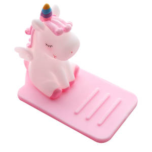 New Kawaii PVC Soft Rubber Cartoon Unicorn Mobile Phone Holder Desktop Multi-function Adjustable Bracket