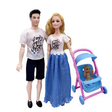 11.5 inch Barbies accessories family couple combination = dad + mom / doll stroller children's educational play house toys(China)